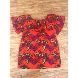 ASOS Orange Pinted Layered Bell Sleeve Dress